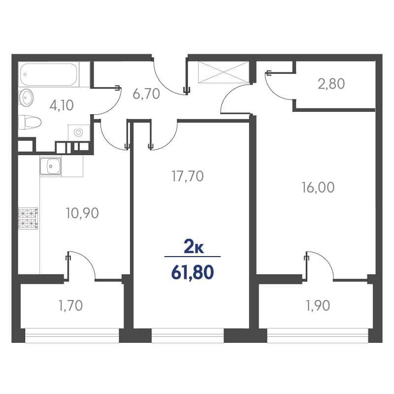 Планировка 2-к. кв., S = 61,80 / 33,70 м²