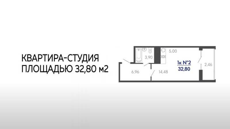 Квартира студия в Туапсе в ЖК Форт Адмирал 4 литер 13 этаж 32,80 кв. м.