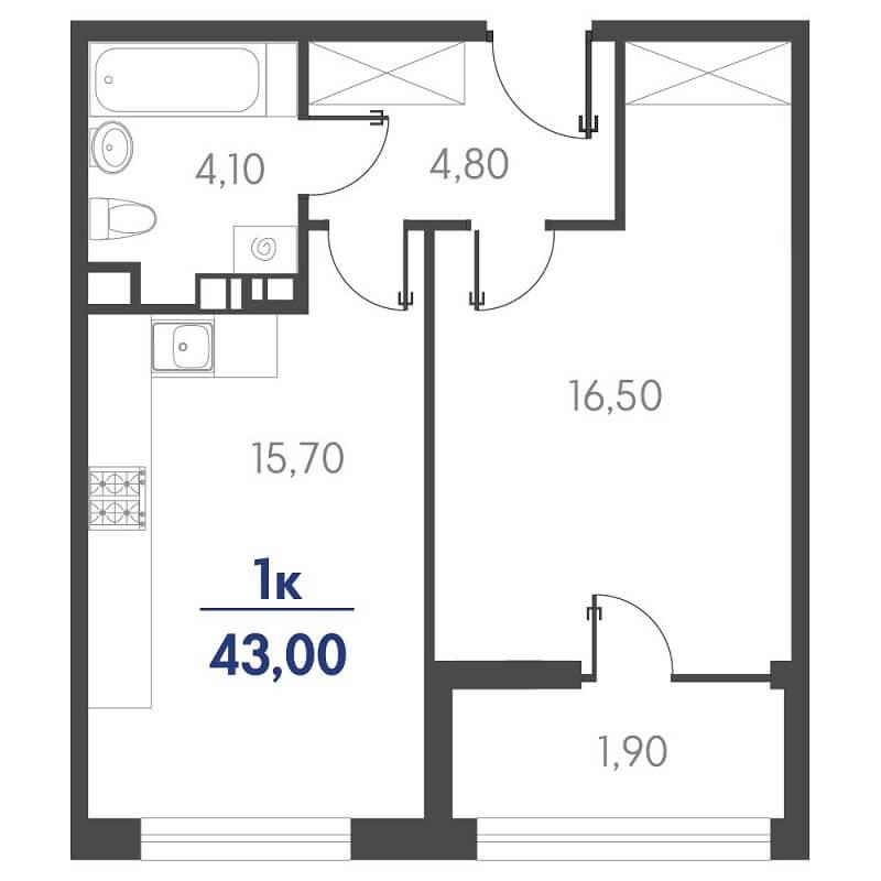 Планировка 1-к. кв., S = 43,00 / 16,50 м²