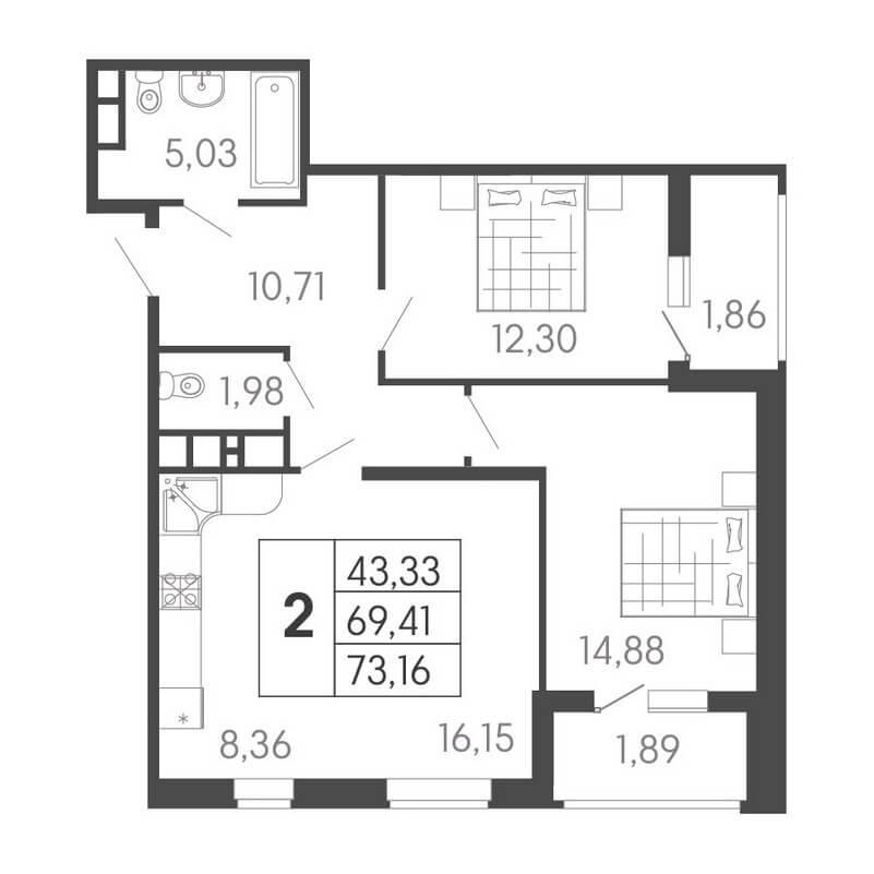 Планировка евро 2-к. кв., S = 73,16 / 43,33 м²