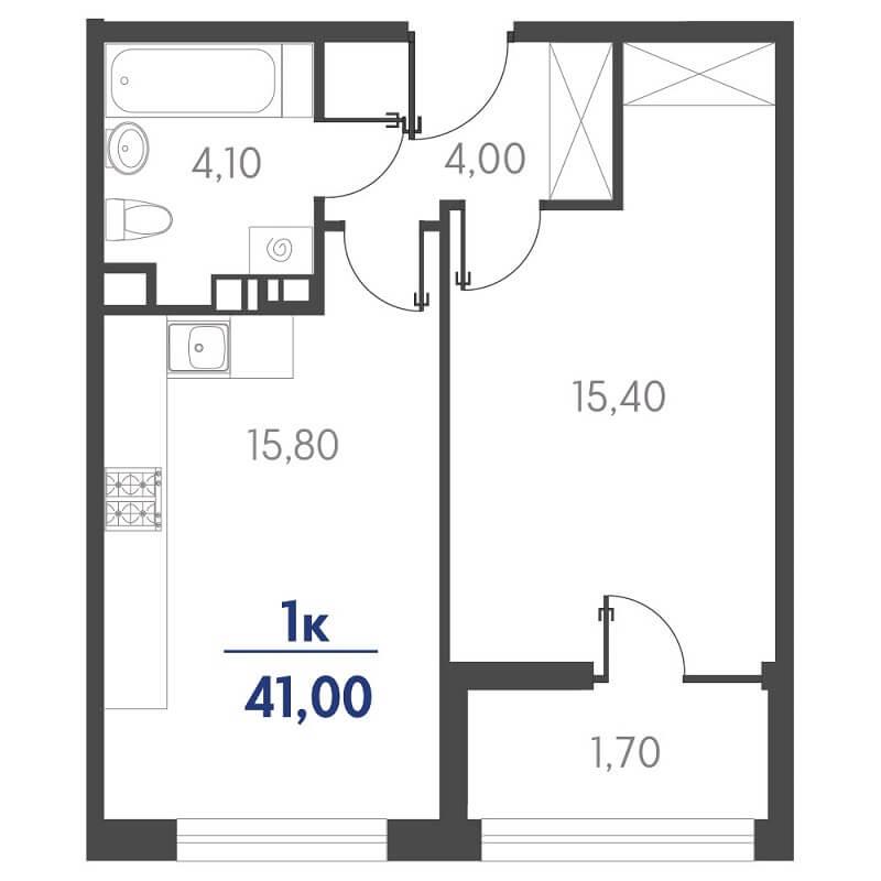 Планировка 1-к. кв., S = 41,00 / 15,40 м²