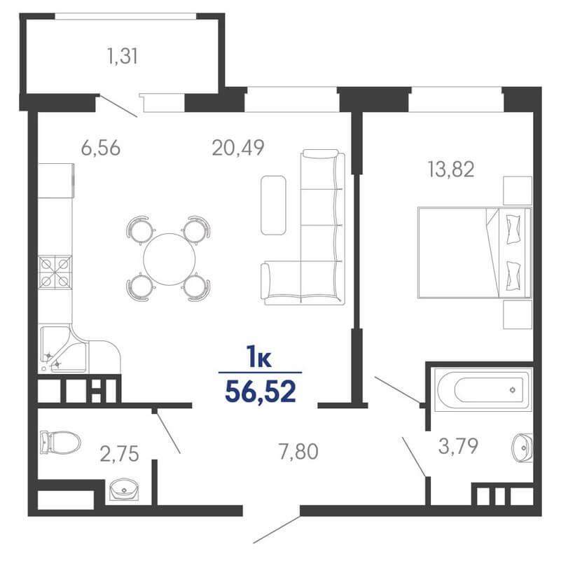 Планировка евро 1-к. кв., S = 56,52 / 34,31 м² - Тип 2