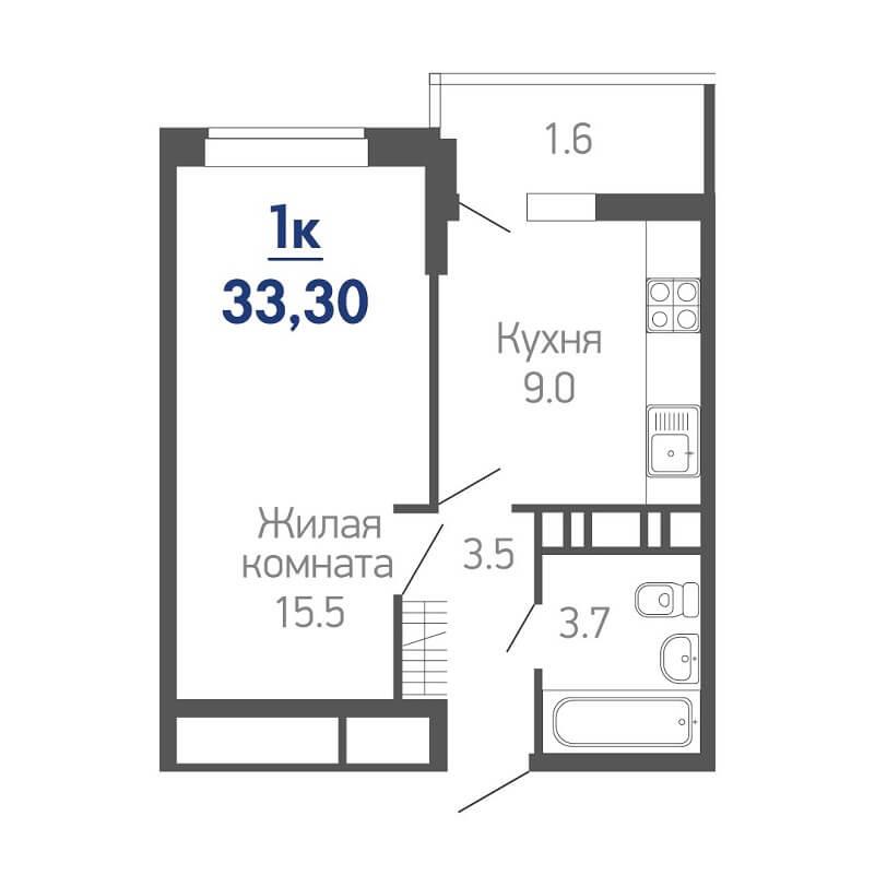 Планировка однокомнатной квартиры на продажу, S = 33,30 / 15,50 м²