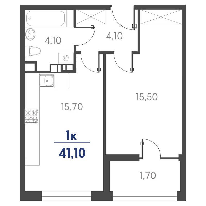 Планировка 1-к. кв., S = 41,10 / 15,50 м² - Тип 2