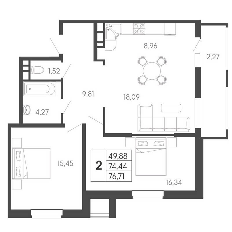 Планировка евро 2-к. кв., S = 76,71 / 49,88 м²
