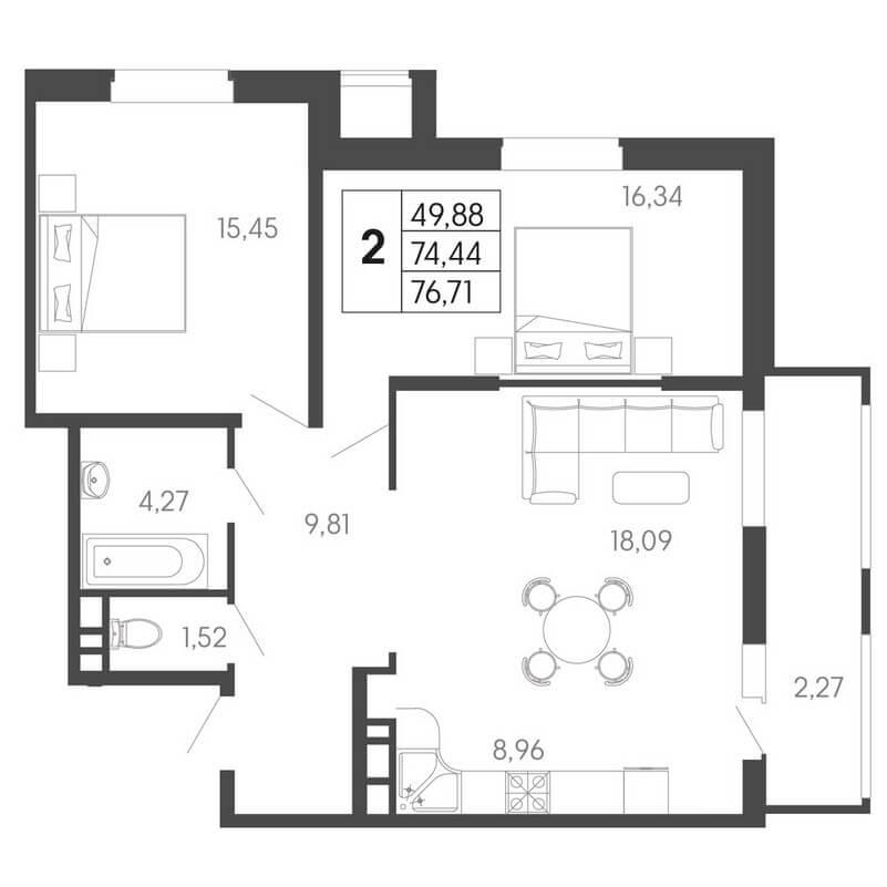 Планировка евро 2-к. кв., S = 76,71 / 49,88 м² - Тип 2