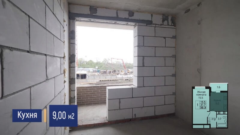 Планировка кухни 1-к квартиры S 33 м2 литер 3 этаж 2