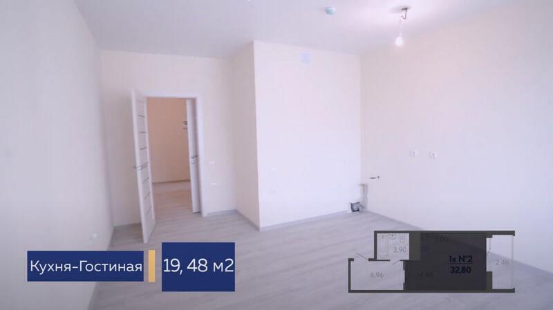 Планировка кухни гостиной 2 в студии Форт Адмирал 4 литер 13 этаж 32,80 кв. м.