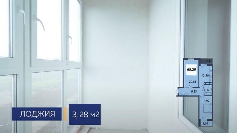 Планировка лоджии на кухне двухкомнатной квартиры в Динской Лит 2 эт 1