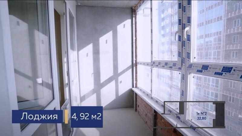 Фото лоджии в студии Форт Адмирал 4 литер 13 этаж 32,80 кв.м.