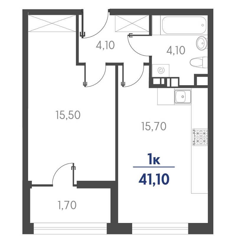 Планировка 1-к. кв., S = 41,10 / 15,50 м²