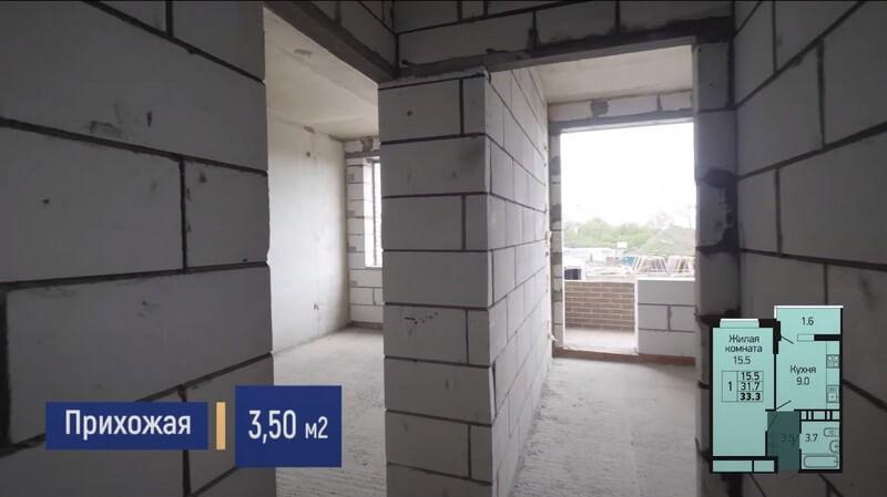 Планировка прихожей 1-к квартиры S 33 м2 литер 3 этаж 2