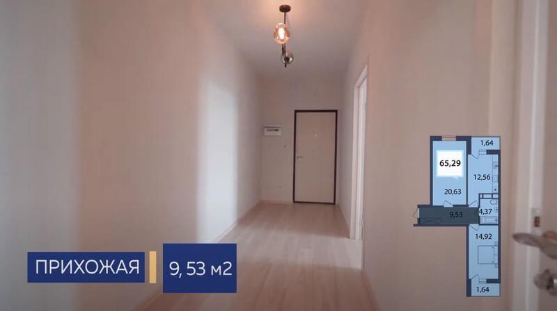 Планировка прихожей двухкомнатной квартиры в Динской Лит 2 эт 1