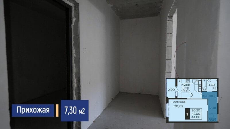 Планировка прихожей однокомнатной квартиры 44 м2 ЖК Сказка Град Лит 2 эт 23