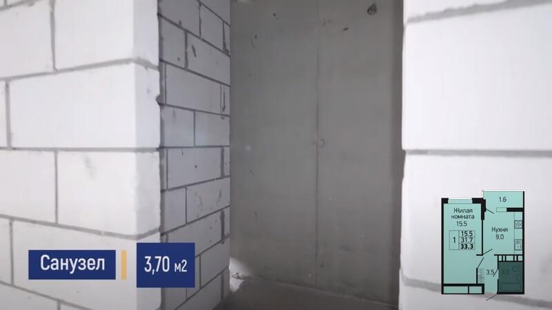 Планировка санузла 1-к квартиры S 33 м2 литер 3 этаж 2