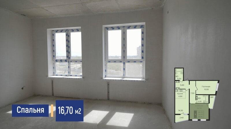 Планировка спальни трехкомнатной квартиры 78 м2 литер1.2 эт 2