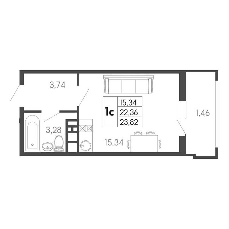 Планировка студии, S = 23,82 / 15,34 м²
