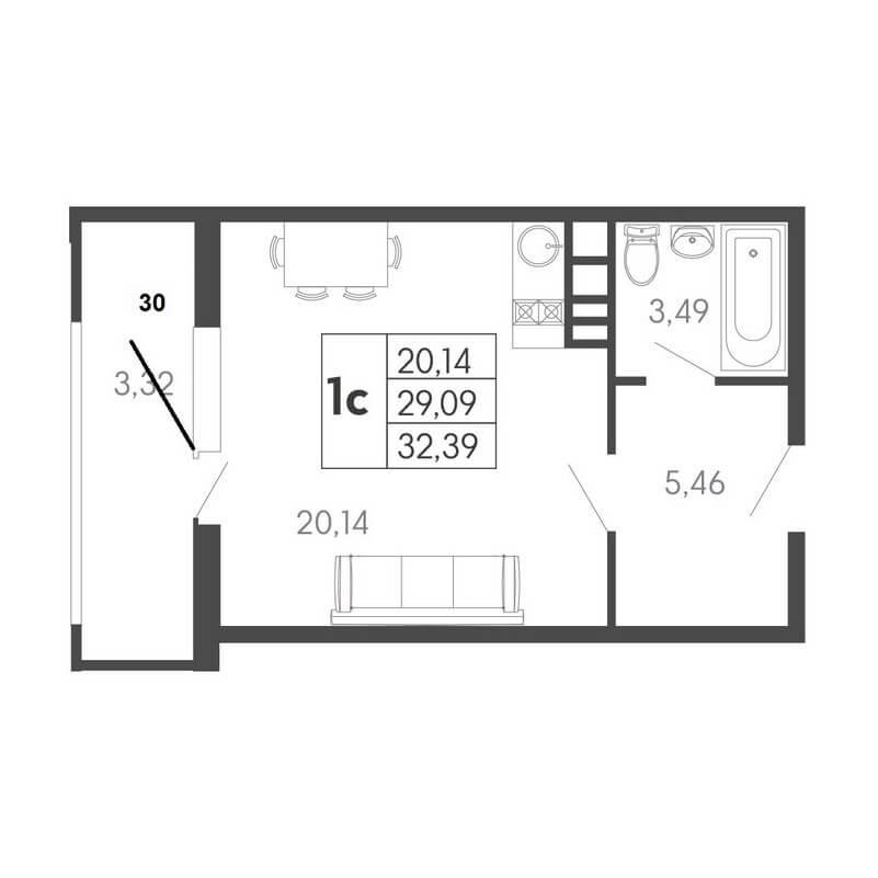 Планировка студии, S = 32,39 / 20,14 м²