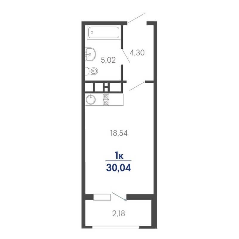 Планировка студии, S = 30,04 / 18,54 м²