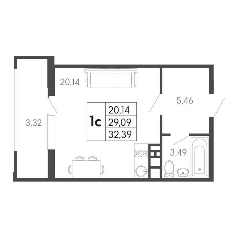 Планировка студии, S = 32,39 / 20,14 м² - Тип 2
