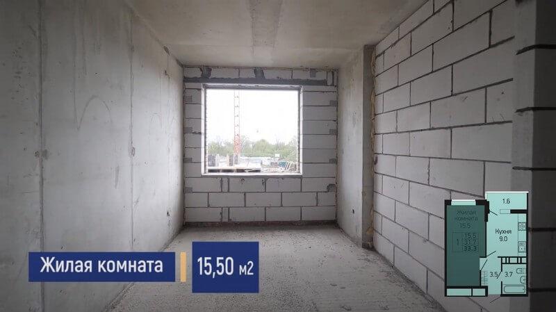 Планировка жилой комнаты 1-к квартиры S 33 м2 литер 3 этаж 2