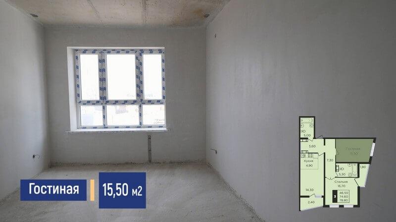 Планировка жилой комнаты трехкомнатной квартиры 78 м2 литер1.2 эт 2