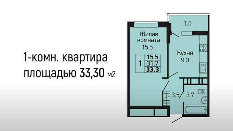 Продается 1 комнатная квартира 33 м2 ЖК Абрикосово