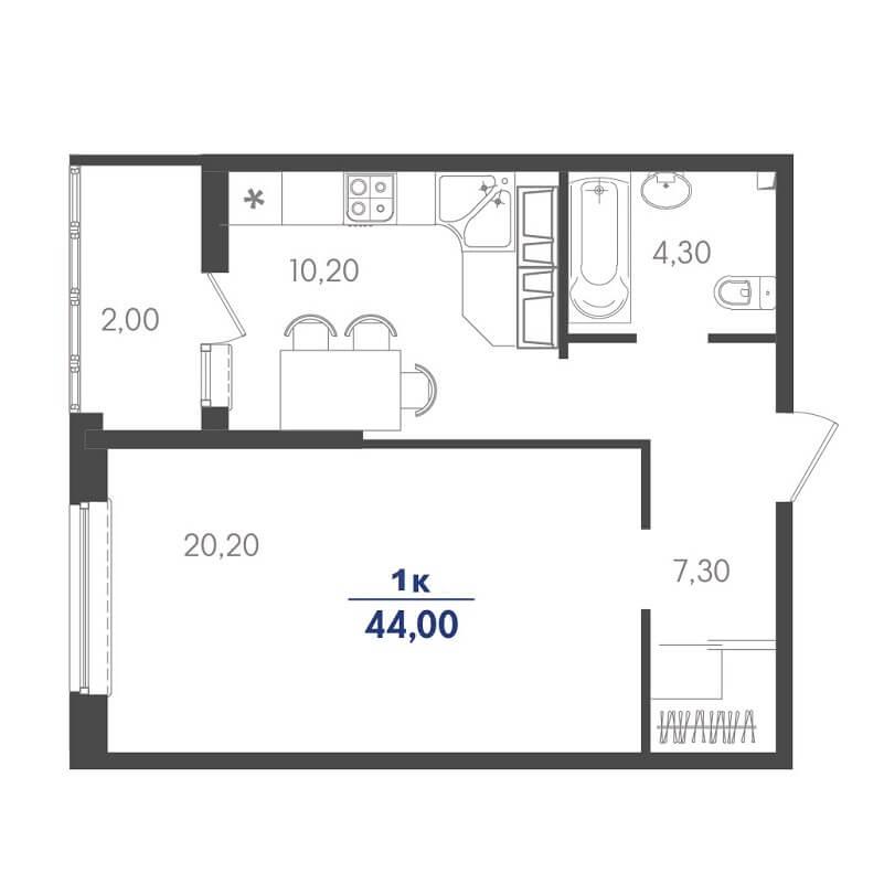 Планировка однокомнатной квартиры на продажу, S = 44,00 / 20,20 м²