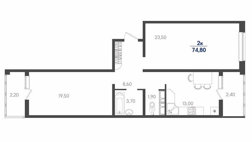 Планировка двухкомнатной квартиры на продажу, S = 74,80 / 43,00 м²