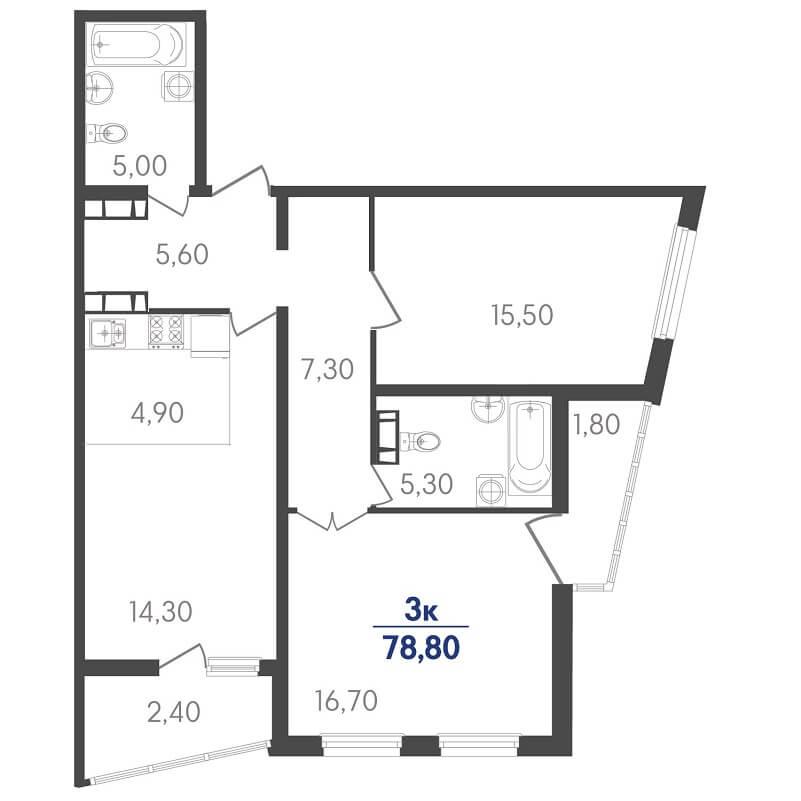 Планировка трехкомнатной квартиры на продажу, S = 78,80 / 32,20 м²