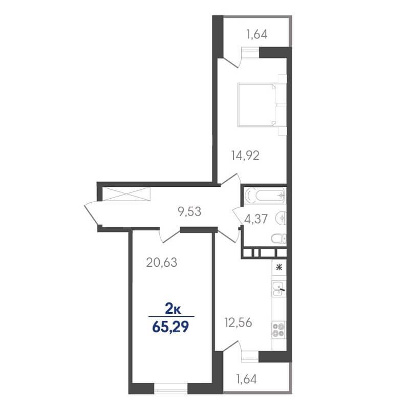 Планировка двухкомнатной квартиры на продажу, S = 65,29 / 35,55 м²