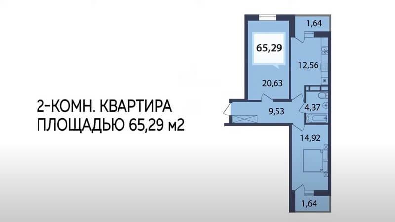 Продажа двухкомнатной квартиры ЖК Белые Росы 65,29 м2