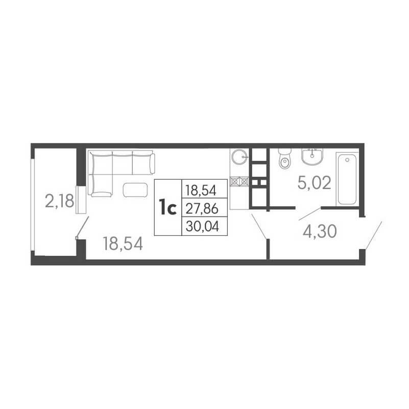 Планировка студии, S = 30,04 / 18,54 м² - Тип 2