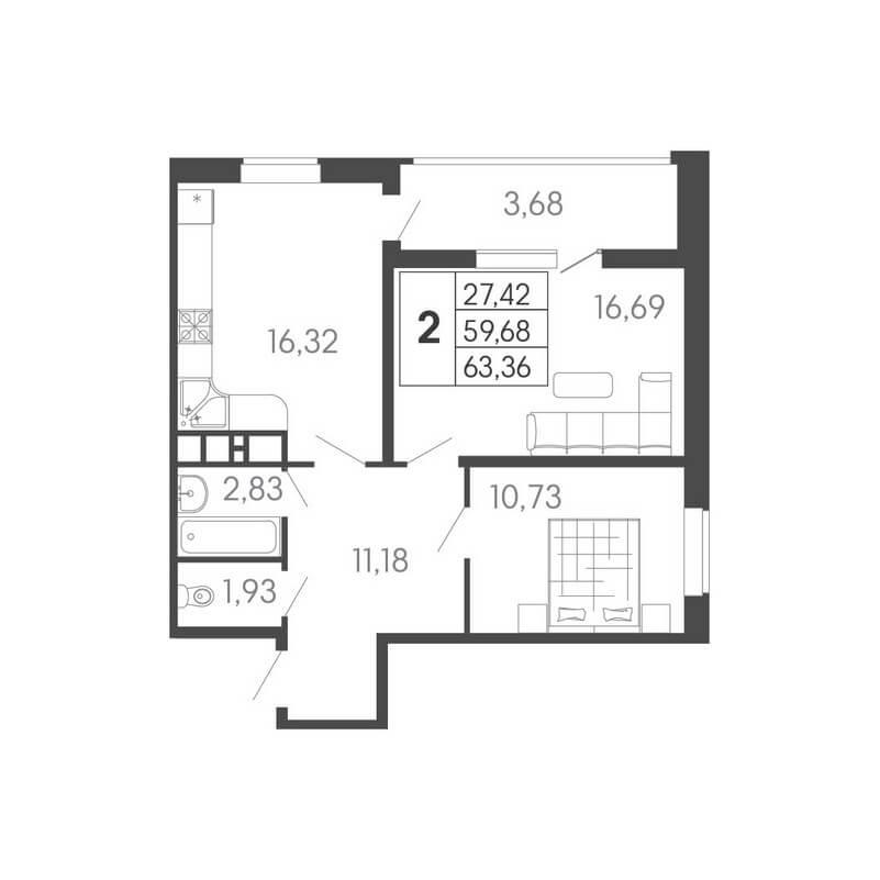Планировка 2-к. кв., S = 63,36 / 27,42 м²
