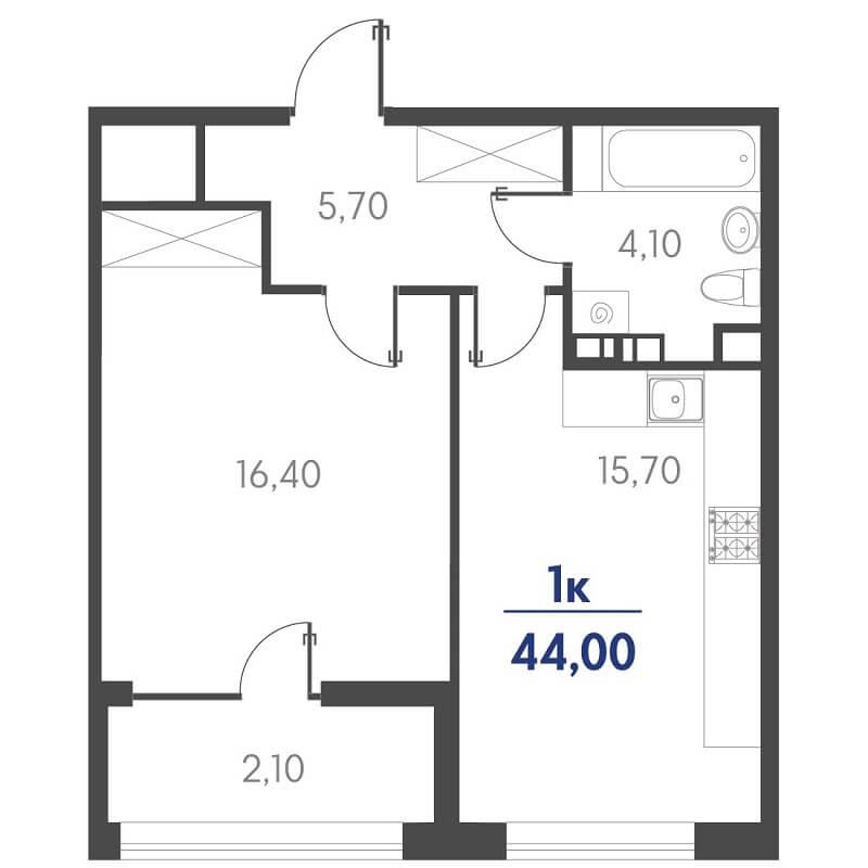 Планировка 1-к. кв., S = 44,00 / 16,40 м²