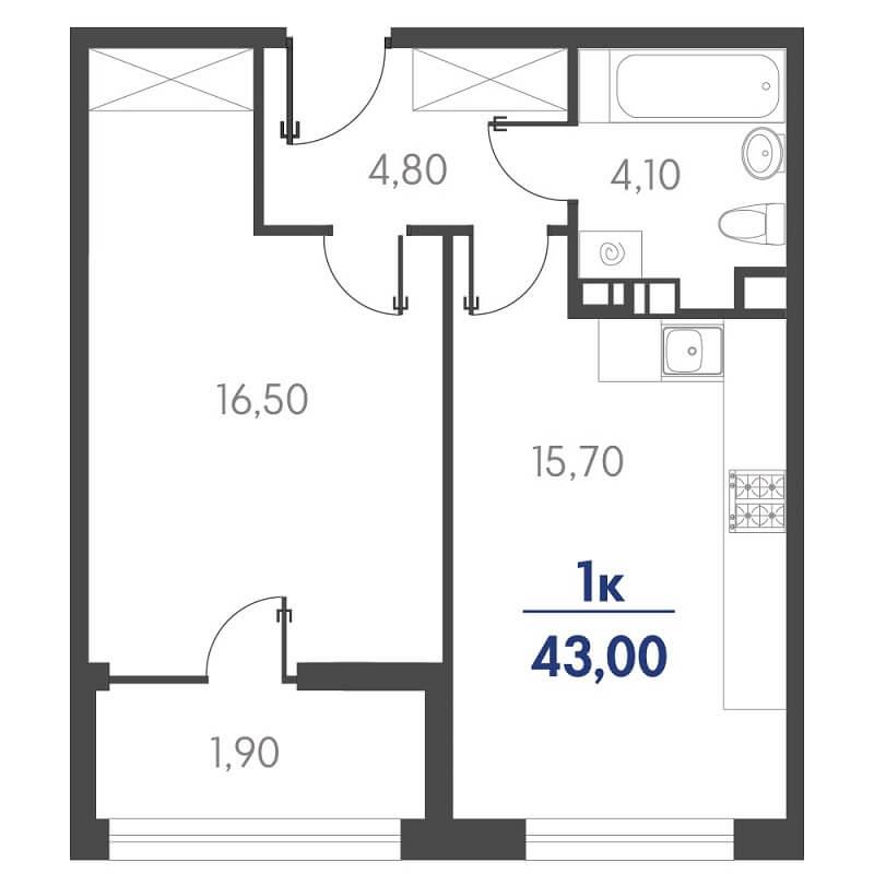 Планировка 1-к. кв., S = 43,00 / 16,50 м² - Тип 2