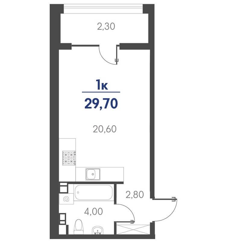 Планировка студии, S = 29,70 / 20,60 м²
