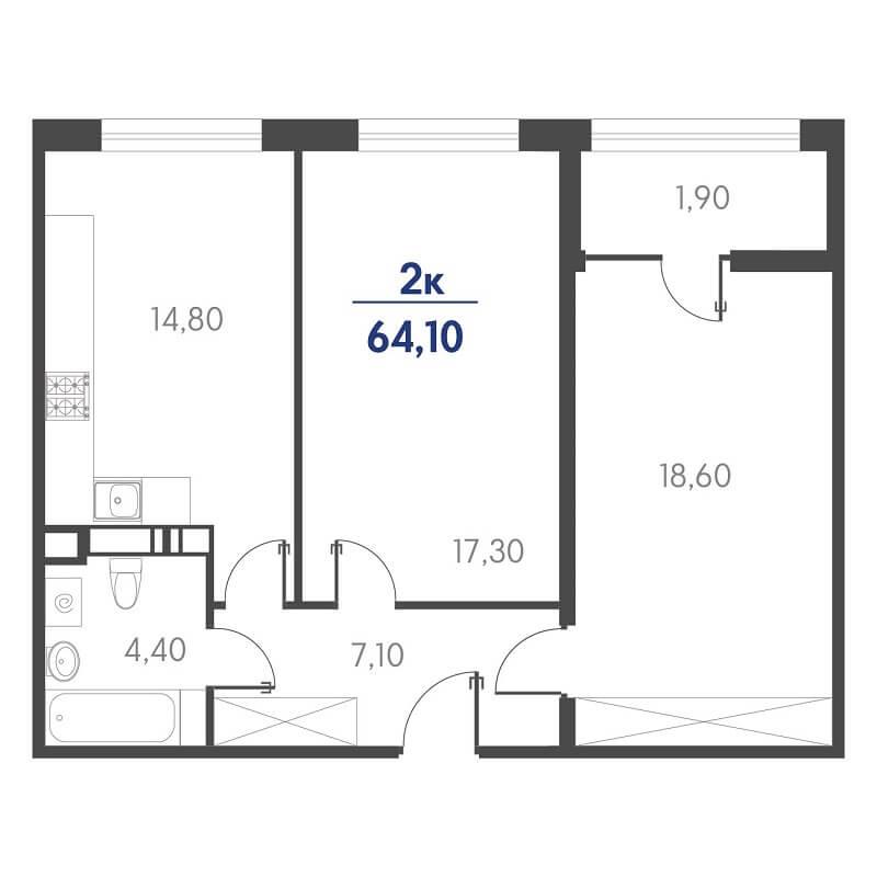 Планировка 2-к. кв., S = 64,10 / 35,90 м² - Тип 2