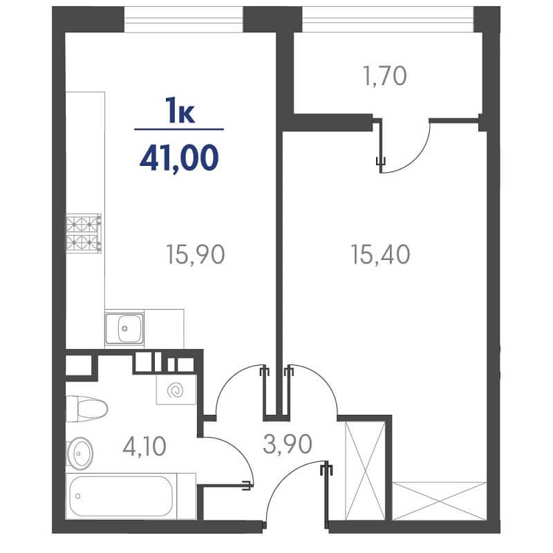 Планировка 1-к. кв., S = 41,00 / 15,40 м² - Тип 3
