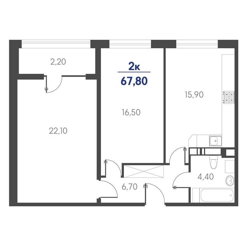 Планировка 2-к. кв., S = 67,80 / 38,60 м² - Тип 2