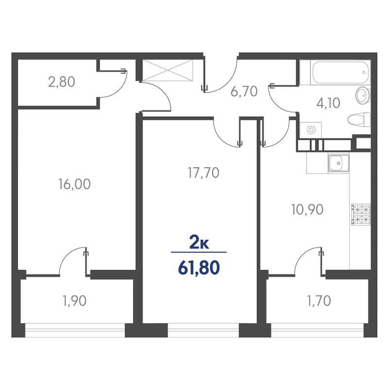 Планировка 2-к. кв., S = 61,80 / 33,70 м² - Тип 2