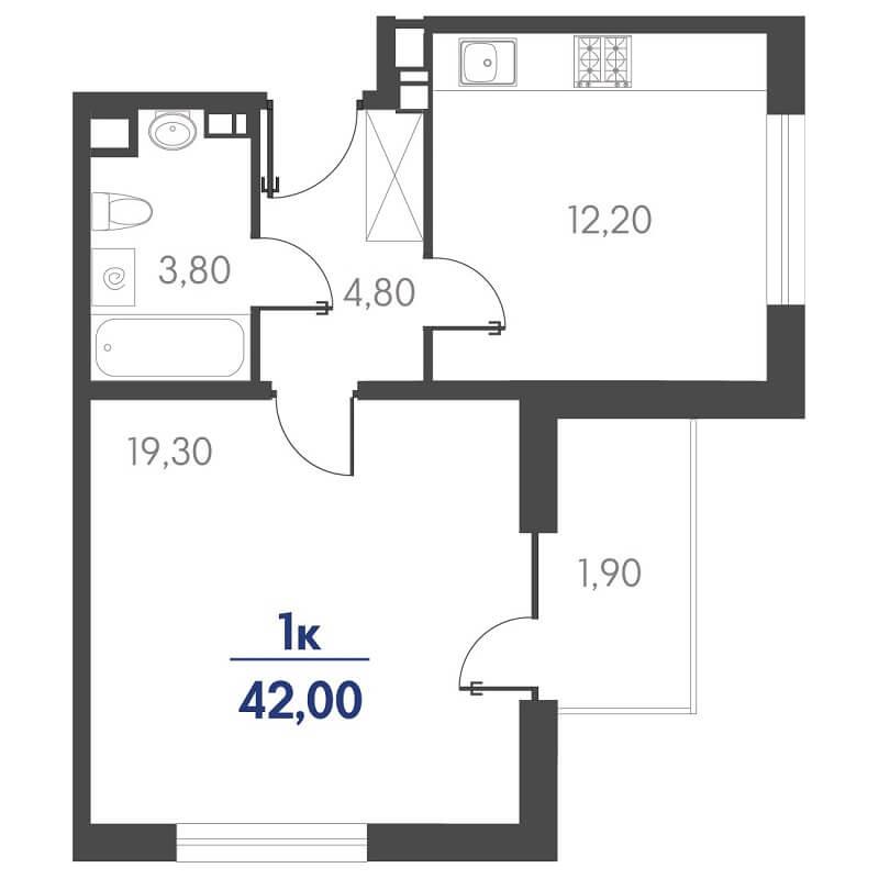 Планировка 1-к. кв., S = 42,00 / 19,30 м² - Тип 3