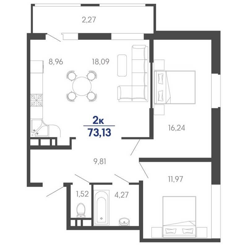 Планировка евро 2-к. кв., S = 73,13 / 34,33 м² - Тип 2