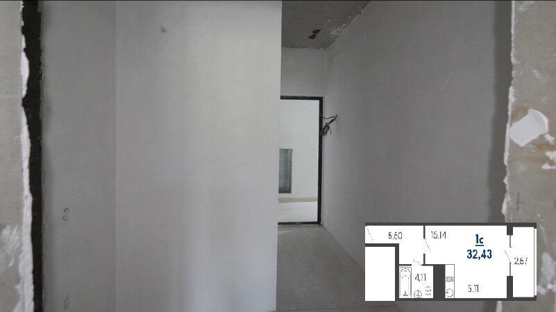 Фото 2 прихожей квартиры студии 32 м2 на продажу в Туапсе от застройщика ЖК Форт Адмирал ЮгСтройИмпериал