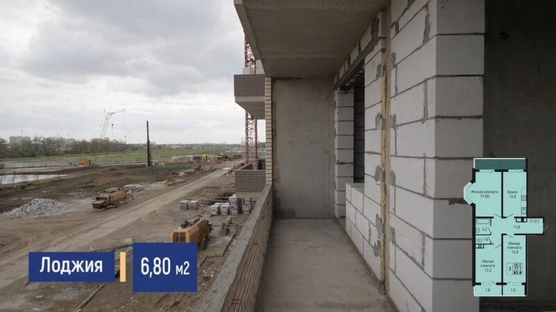Фото ленточной лоджии в гостиной 3-к квартиры 83 м2 на продажу ЖК Абрикосово ЮгСтройИмпериал