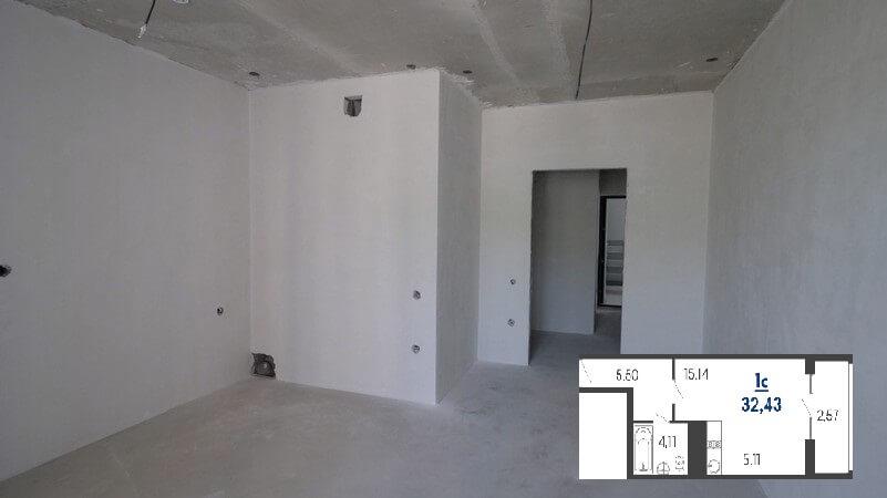 Фото зоны кухни квартиры студии 32 м2 на продажу в Туапсе от застройщика ЖК Форт Адмирал ЮгСтройИмпериал