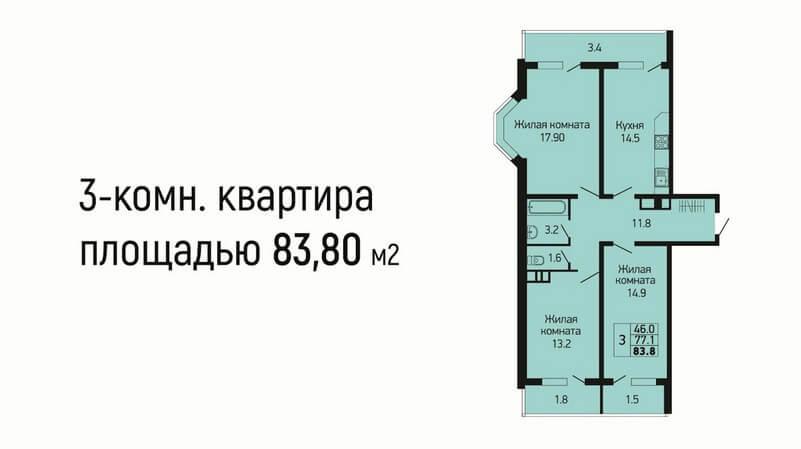 Планировка 3-к квартиры № 13 на продажу в Краснодаре, этаж 2, Литер 2, от застройщика ЖК Абрикосово ЮгСтройИмпериал