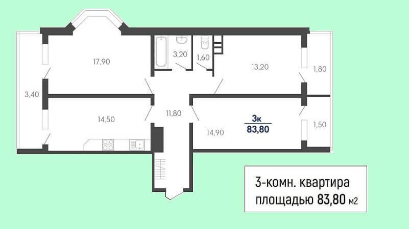 Планировка 3-к квартиры № 68 на продажу в Краснодаре, этаж 7 в ЖК Абрикосово от застройщика ЮгСтройИмпериал