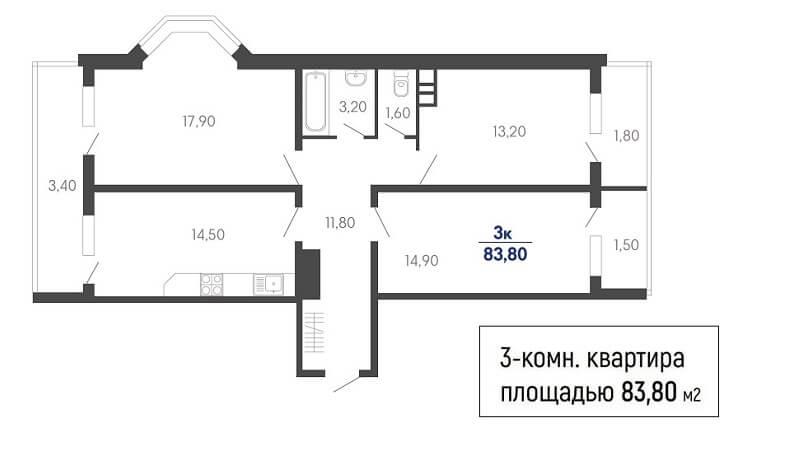 Планировка 3-к квартиры № 846 на продажу в Краснодаре, этаж 2 в ЖК Абрикосово от застройщика ЮгСтройИмпериал