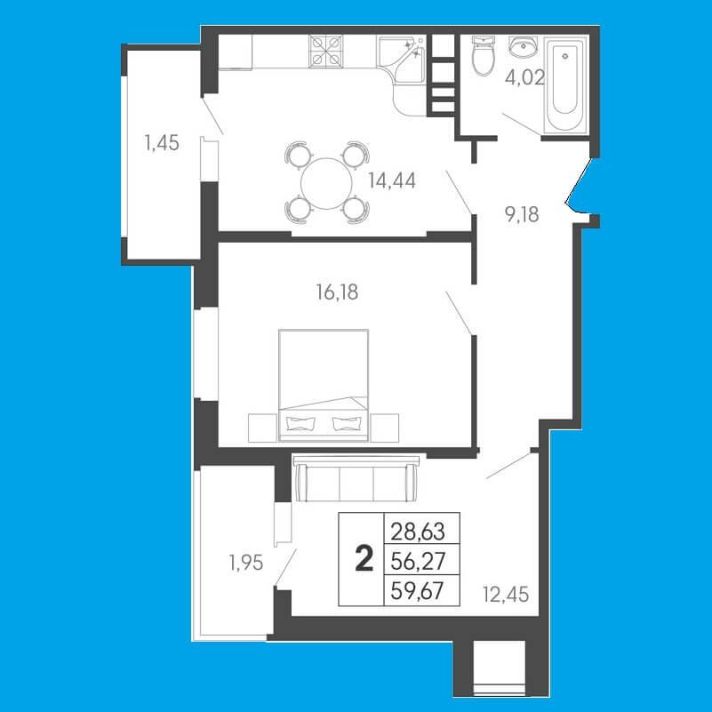 Планировка 2-к квартиры № 3 на продажу, S = 59,67 / 28,63 м²